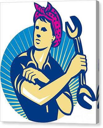 Female Mechanic Worker With Spanner Retro Canvas Print by Aloysius Patrimonio