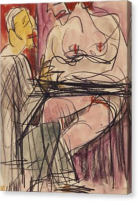 Female Nude And Man Sitting At A Table Canvas Print by Ernst Ludwig Kirchner