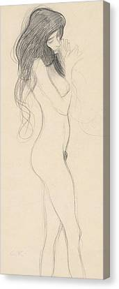 Female Nude Standing Drawing Canvas Print by