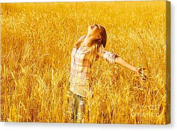 Female On Wheat Field Canvas Print by Anna Om