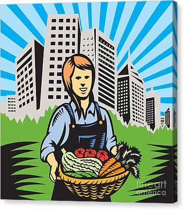 Female Organic Farmer Urban Canvas Print by Aloysius Patrimonio
