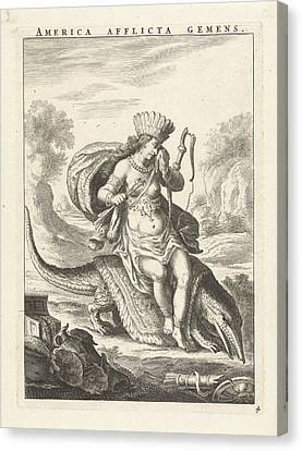 Female Personification Of America As A Woman With Headdress Canvas Print