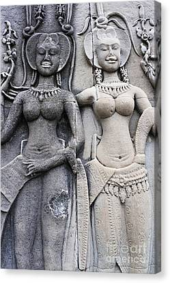 Female Representation Carving On Temple Canvas Print by Sami Sarkis