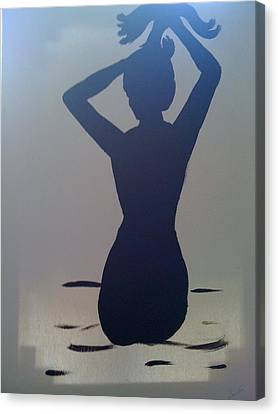 Canvas Print featuring the painting Female Silhouette by Judi Goodwin