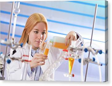 Female Student In Lab Canvas Print