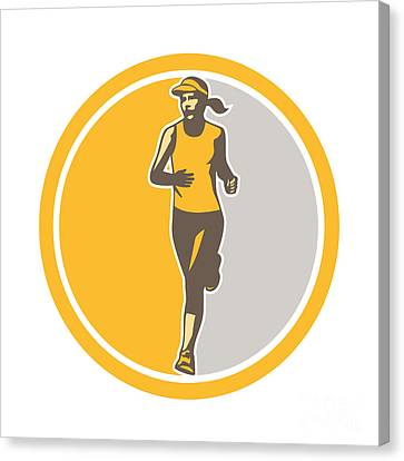 Female Triathlete Marathon Runner Circle Retro Canvas Print