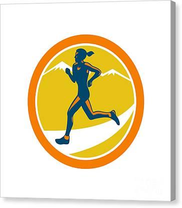 Female Triathlete Runner Running Retro Canvas Print by Aloysius Patrimonio