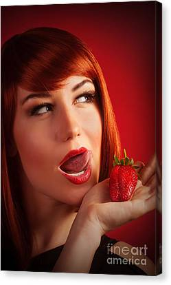 Female With Strawberry Canvas Print by Anna Om