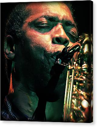 Femi Kuti On Saxophone  Canvas Print by Jennifer Rondinelli Reilly - Fine Art Photography