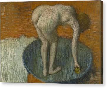 Routine Canvas Print - Femme Au Tub by Edgar Degas