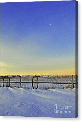Fence And Moon Canvas Print by Desiree Paquette