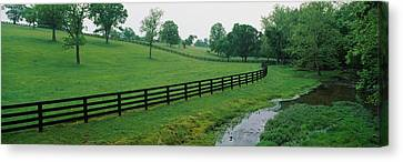 Fence In A Field, Woodford County Canvas Print