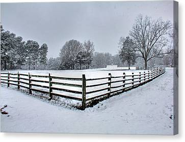 Fence In Snow Canvas Print