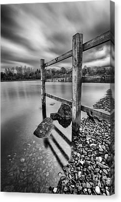 Fence In The Loch  Canvas Print by John Farnan
