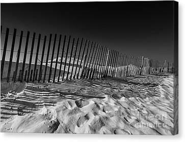 Fence On Beach Canvas Print