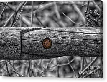 Fence Rail With Rusty Bolt Canvas Print by Thomas Woolworth