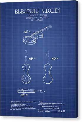 Fender Electric Violin Patent From 1960 - Blueprint Canvas Print