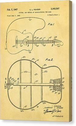 Fender Guitar Manufacture Patent Art 1967  Canvas Print by Ian Monk