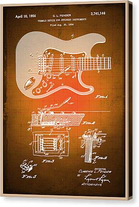 Technical Canvas Print - Fender Guitar Patent Blueprint Drawing Sepia by Tony Rubino