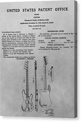 Fender Guitar Patent Charcoal Canvas Print by Dan Sproul