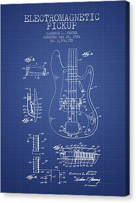 Fender Guitar Patent From 1961 - Blueprint Canvas Print