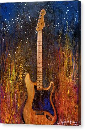 Canvas Print featuring the painting Fender On Fire by Andrew King