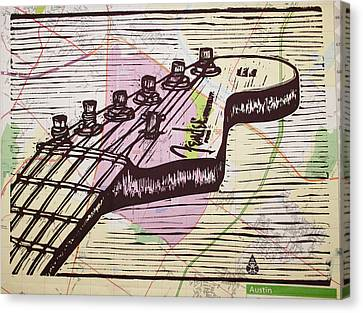 Fender Strat Canvas Print - Fender Strat On Map by William Cauthern
