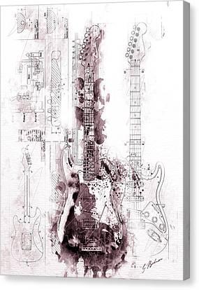 Strat Canvas Print - Fender Strat Scarlet Drip by Gary Bodnar