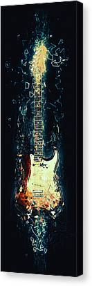 Lightning Decorations Canvas Print - Fender Strat by Taylan Apukovska