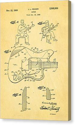 Fender Jazzmaster Guitar Patent Art 1960  Canvas Print by Ian Monk