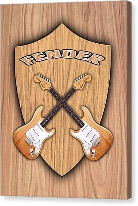 Fender Stratocaster Natural Color Shield Canvas Print by Doron Mafdoos