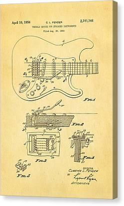 Fender Stratocaster Tremolo Arm Patent Art 1956 Canvas Print by Ian Monk