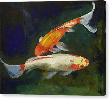 Feng Shui Koi Fish Canvas Print by Michael Creese