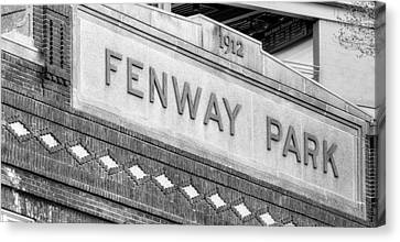 Red Sox Canvas Print - Fenway Park 1912 Bw by Susan Candelario