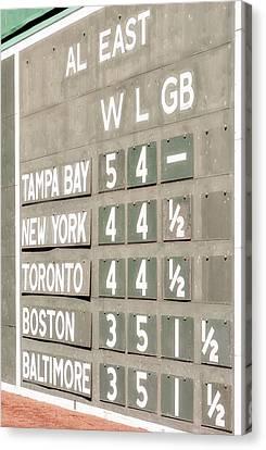 Baseball Park Canvas Print - Fenway Park Al East Scoreboard Standings by Susan Candelario