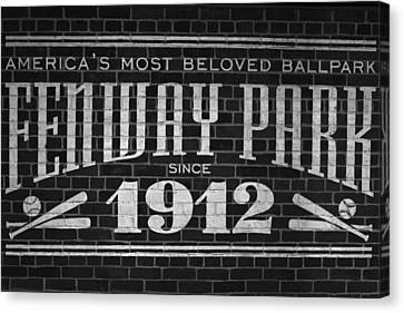 Fenway Park Boston Ma 1912 Sign Canvas Print by Toby McGuire