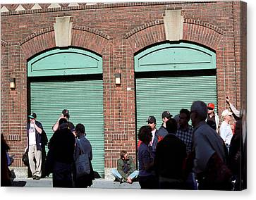 Fenway Park - Fans And Locked Gate Canvas Print by Frank Romeo