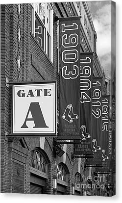 Fenway Park Gate A Bw Canvas Print by Jerry Fornarotto