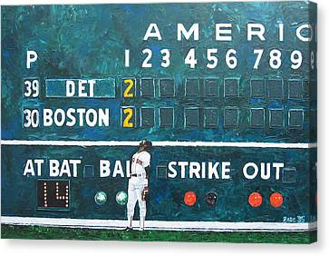 Fenway Park - Green Monster Canvas Print by Mike Rabe