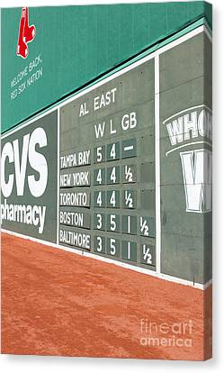 Baseball Park Canvas Print - Fenway Park Green Monster Scoreboard I by Clarence Holmes