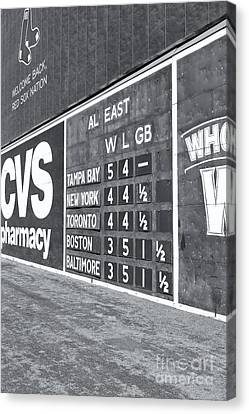Fenway Park Green Monster Scoreboard II Canvas Print by Clarence Holmes