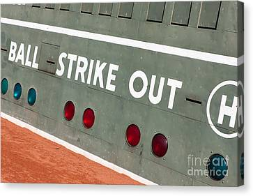 Baseball Park Canvas Print - Fenway Park Green Monster Scoreboard IIi by Clarence Holmes