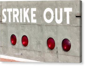 Fenway Park Strike - Out Scoreboard  Canvas Print by Susan Candelario