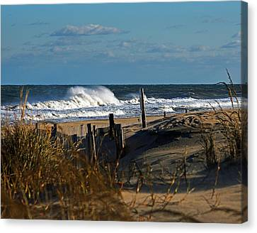 Fenwick Dunes And Waves Canvas Print by Bill Swartwout