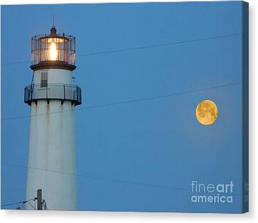 Fenwick Island Lighthouse And The Moon Canvas Print by William Fuhrer