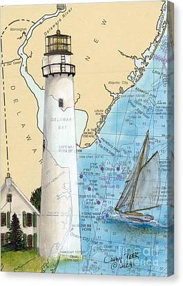 Fenwick Island Lighthouse De Nautical Chart Map Art Cathy Peek Canvas Print by Cathy Peek