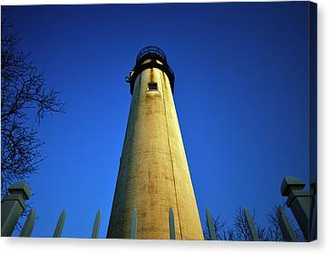Fenwick Island Lightouse And Blue Sky Canvas Print by Bill Swartwout