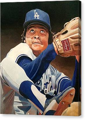 Fernando Vanezuela - Los Angles Dodgers Canvas Print by Michael  Pattison