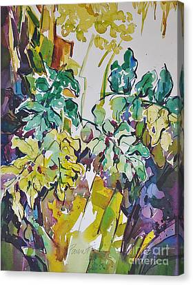 Canvas Print featuring the painting Ferns On Hot Day by Roger Parent