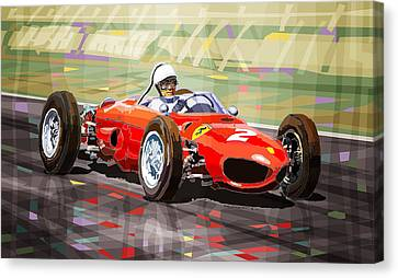 Ferrari 156 Dino British Gp1962 Phil Hill Canvas Print by Yuriy Shevchuk